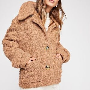 Free People So Soft Cozy Teddy Peacoat Large L